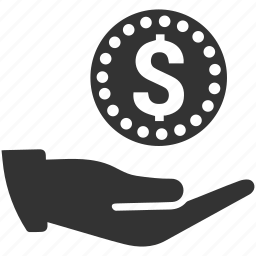 coin, dollar, earnings, hand, money, order, payment icon