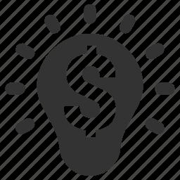 bulb, business idea, creativity, dollar power, dollar sign icon