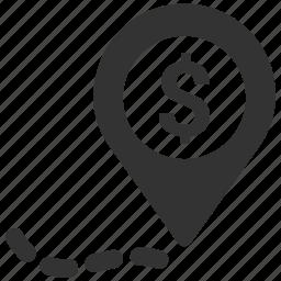 cash, dollar, location, marker, money, pin, place icon