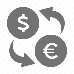 banking, conversion, currency, dollar, euro, exchange, money, rate icon