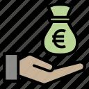 bag, charity, euro, give, money