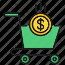 dollar, money, shopping cart icon