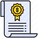 business, certificate, document icon