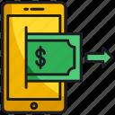 money, smartphone, transfer icon