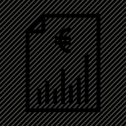 cash, chart, euro, finance, graph, report icon