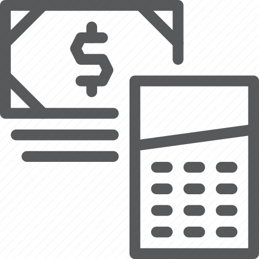bank, bills, calculator, cash, currency, finance, money, note icon