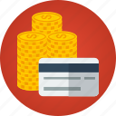 card, cash, coins, credit card, money, rich icon