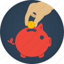 bank, coin, hand, money, pig, piggy, piggy bank, rich, saving, savings icon