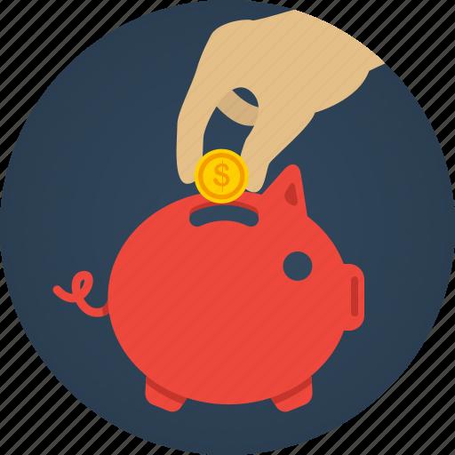 bank, coin, hand, money, pig, piggy, piggy bank, rich, saving, savings icon