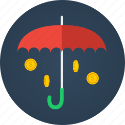 cash, coins, finance, money, money rain, rain, rich, umbrella icon