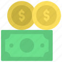 cash, dollar, coins, currency, banknote