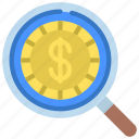 financial, research, loupe, magnifying, glass, coin icon