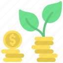growth, cash, growing, plant icon