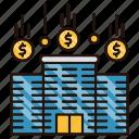 buildling, company, flow, money icon