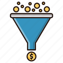 coins, conversion, filter, funnel icon