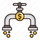 flow, flow of money, money, pipe icon