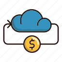cloud, coin, currency, money, online icon