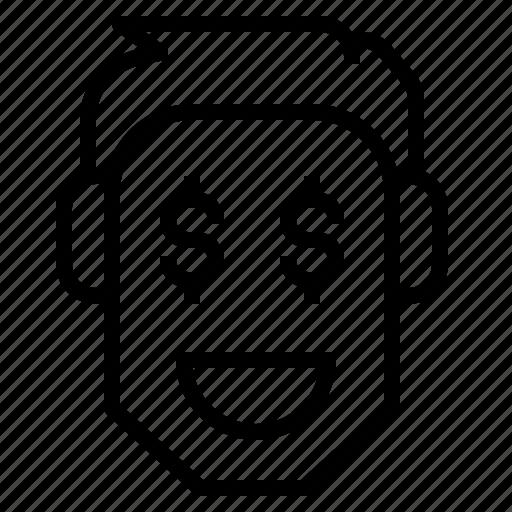 face, man, money, smile, trader icon