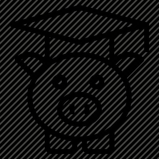 fee, graduation, hat, pig, tuition icon