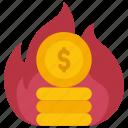 burning, money, fire, coins, cash