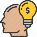 financial, ideas, lightbulb, face, money icon