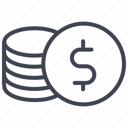 cash, coins, dollar, finance, money, sign, stack icon