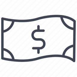 bill, cash, currency, dollar, finance, money, sign icon