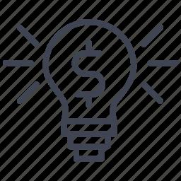 currency, dollar, finance, illuminated, lightbulb, money, sign icon