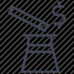 cash, dollar, finance, hat, magic, money, sign icon