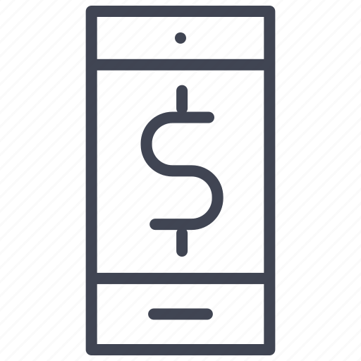 dollar, finance, mobile, money, phone, purchase, sign icon