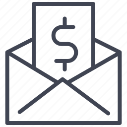 currency, dollar, envelope, finance, money, payment, sign icon