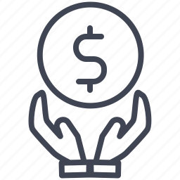 cash, currency, finance, hands, money, payment icon