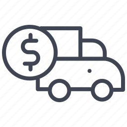 dollar, finance, money, transport, truck, vehicle icon