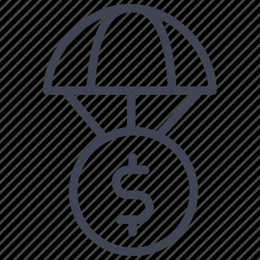 dollar, finance, money, parachute, sign icon