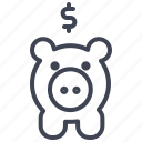 bank, dollar, finance, money, piggy, sign icon
