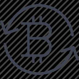 arrow, bitcoin, finance, money, refresh, reload icon