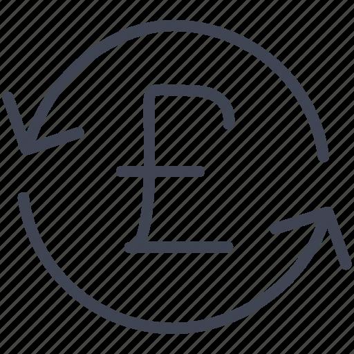 british, currency, finance, money, pound, refresh icon