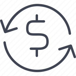 dollar, finance, financial, money, refresh icon