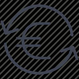 euro, finance, money, refresh, reload icon