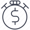 dollar, finance, money, sign, stop, watch icon