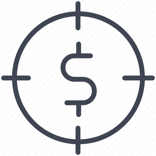 currency, dollar, finance, money, seeker, sign, target icon