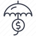 dollar, finance, money, sign, umbrella icon