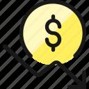 currency, dollar, decrease