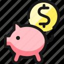 saving, piggy, dollars