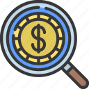 financial, research, loupe, magnifying, glass, coin