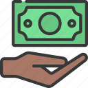 give, loan, cash, hand