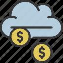 raining, rain, cloud, cash, coins