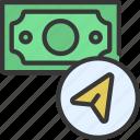 send, sent, cash, banking, banknote