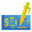 business, cheque, exchange, finance, money, paper, pen icon