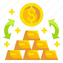 business, coin, exchange, finance, gold, money, transfer icon